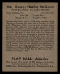 1939 Play Ball #122  George McQuinn  Back Thumbnail
