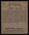 1939 Play Ball #154  Johnny Hudson  Back Thumbnail