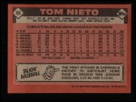 1986 Topps #88   Tom Nieto Back Thumbnail