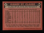 1986 Topps #89  Randy St.Claire  Back Thumbnail