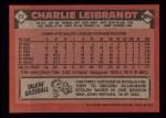1986 Topps #77  Charlie Leibrandt  Back Thumbnail