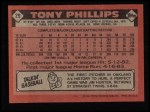 1986 Topps #29   Tony Phillips Back Thumbnail