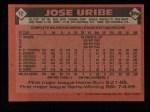 1986 Topps #12   Jose Uribe Back Thumbnail