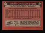 1986 Topps #72  Shawon Dunston  Back Thumbnail
