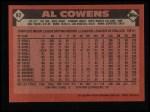 1986 Topps #92  Al Cowens  Back Thumbnail