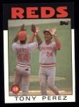 1986 Topps #85  Tony Perez w/ Eric Davis  Front Thumbnail