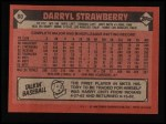 1986 Topps #80   Darryl Strawberry Back Thumbnail