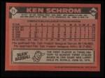 1986 Topps #71   Ken Schrom Back Thumbnail