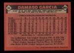 1986 Topps #45   Damaso Garcia Back Thumbnail