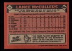 1986 Topps #44  Lance McCullers  Back Thumbnail