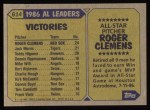 1987 Topps #614   -  Roger Clemens All-Star Back Thumbnail