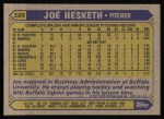 1987 Topps #189   Joe Hesketh Back Thumbnail