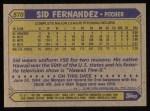 1987 Topps #570   Sid Fernandez Back Thumbnail