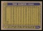1987 Topps #425  Tom Seaver  Back Thumbnail