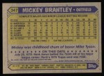1987 Topps #347  Mickey Brantley  Back Thumbnail