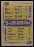 1987 Topps #181  Cardinals Team  Back Thumbnail
