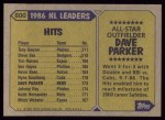1987 Topps #600  All-Star  -  Dave Parker Back Thumbnail