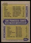 1987 Topps #231   Giants Team Back Thumbnail
