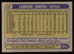 1987 Topps #69  Lonnie Smith  Back Thumbnail