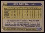 1987 Topps #301  Luis Aquino  Back Thumbnail