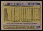 1987 Topps #64  Harry Spilman  Back Thumbnail