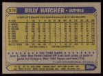 1987 Topps #578   Billy Hatcher Back Thumbnail