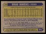 1987 Topps #398  Brad Havens  Back Thumbnail