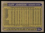 1987 Topps #663  Cliff Johnson  Back Thumbnail