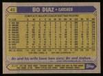 1987 Topps #41   Bo Diaz Back Thumbnail