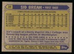 1987 Topps #35   Sid Bream Back Thumbnail