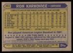 1987 Topps #491  Ron Karkovice  Back Thumbnail