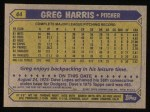 1987 Topps #44  Greg Harris  Back Thumbnail