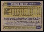 1987 Topps #261   Ruben Sierra Back Thumbnail