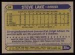1987 Topps #84   Steve Lake Back Thumbnail