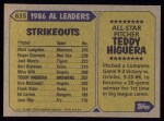 1987 Topps #615  All-Star  -  Teddy Higuera Back Thumbnail
