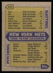 1987 Topps #331  Mets Team Leaders / Carter / Straw  -  Darryl Strawberry / Gary Carter Back Thumbnail
