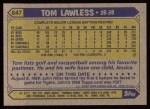 1987 Topps #647  Tom Lawless  Back Thumbnail