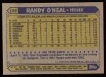 1987 Topps #196  Randy O'Neal  Back Thumbnail