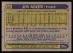 1987 Topps #407  Jim Acker  Back Thumbnail