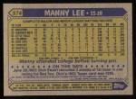 1987 Topps #574  Manny Lee  Back Thumbnail