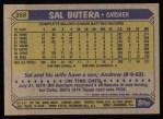 1987 Topps #358  Sal Butera  Back Thumbnail