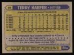 1987 Topps #49  Terry Harper  Back Thumbnail