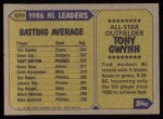 1987 Topps #599   -  Tony Gwynn All-Star Back Thumbnail
