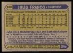 1987 Topps #160  Julio Franco  Back Thumbnail