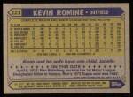 1987 Topps #121  Kevin Romine  Back Thumbnail
