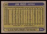 1987 Topps #480   Jim Rice Back Thumbnail