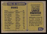 1987 Topps #613   -  Lance Parrish All-Star Back Thumbnail