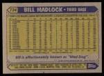 1987 Topps #734  Bill Madlock  Back Thumbnail