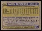 1987 Topps #658   Robby Thompson Back Thumbnail