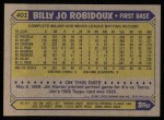 1987 Topps #401   Billy Joe Robidoux Back Thumbnail